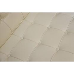 Podnóżek BARCELON PRESTIGE biały - włoska skóra naturalna, stal polerowana