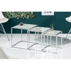 INVICTA Zestaw stolików ELEMENTS szkło - imitacja marmuru