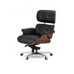 Fotel biurowy GUBERNATOR - sklejka orzech, skóra naturalna, stal polerowana