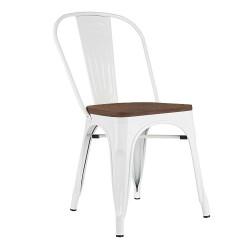 Krzesło TOWER WOOD białe - sosna antyczna, metal