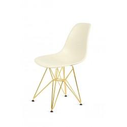 Krzesło DSR GOLD migdał imitacja drewna - podstawa metalowa złota